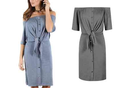 Groupon Goods Global GmbH - Off Shoulder Denim Look Shirt Dress in Choice of Colour - Save 53%