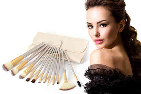 Trending Picks - 12 piece champagne makeup brush set - Save 79%