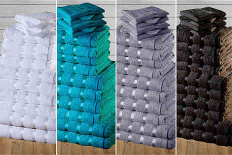 Groundlevel - Eight or 16 piece Egyptian cotton towel set with viscose stripe detail - Save 87%