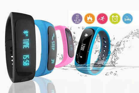 TLD Marketing - 12 in 1 Bluetooth fitness tracker choose from black, pink and blue - Save 91%