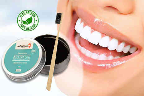 Forever Cosmetics - Tin of activated charcoal teeth whitening powder and bamboo charcoal brush - Save 88%