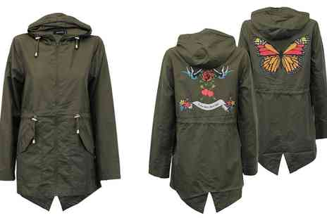 Groupon Goods Global GmbH - Brave Soul Womens Hooded Tattoo Print Fish Tail Jacket - Save 0%