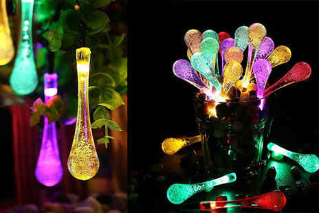 SHS Trading - 20 multicoloured waterdrop LED solar string lights - Save 57%