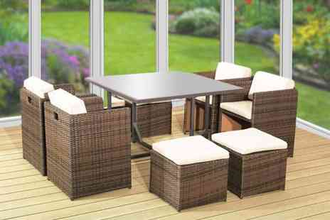 Rattan Trends - Brown nine piece rattan garden dining set - Save 58%