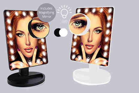 Toy Meets World - Touch screen 22 LED illuminated makeup mirror choose black or white - Save 71%