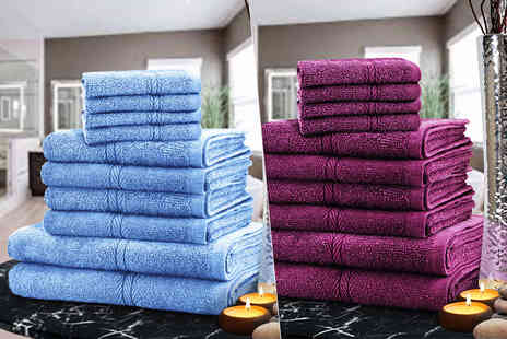 Fusion Homeware - 10 piece towel bundle choose from twelve colours - Save 84%