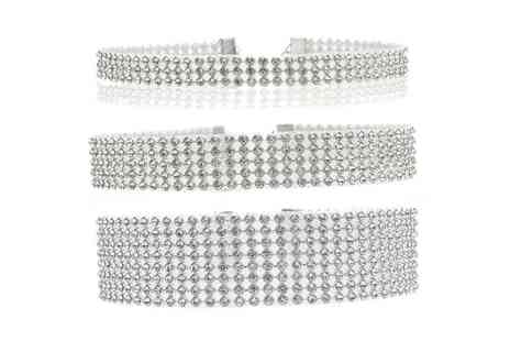 Groupon Goods Global GmbH - Set of Three Diamante Chokers - Save 83%