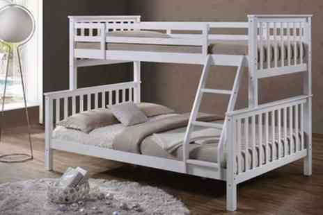 Groupon Goods Global GmbH - Oscar Triple Bunk Bed with Spring Mattress and Memory Foam Matt Include Free Delivery - Save 25%