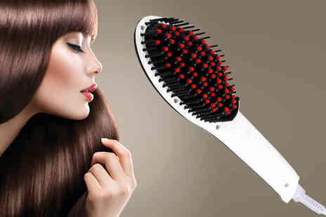Hair Extension Lovers - Three in One LED Straightening Brush and Velvet Case - Save 90%