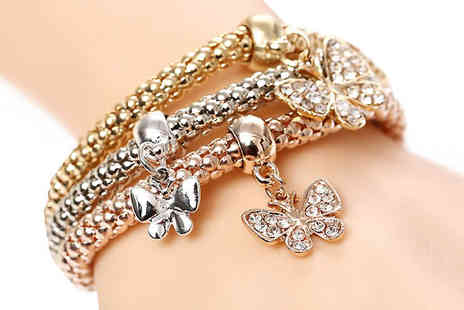 Marcus Emporium - Three Butterfly Charm Bracelets - Save 86%