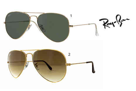 Fashion Eyewear - Pair of Ray Ban aviator sunglasses choose from two styles - Save 36%