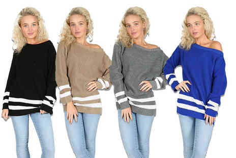 Be Jealous - Striped off shoulder jumper in a choice of eight colours - Save 69%