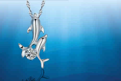 Girly Glitz - Mother and baby dolphin necklace - Save 82%