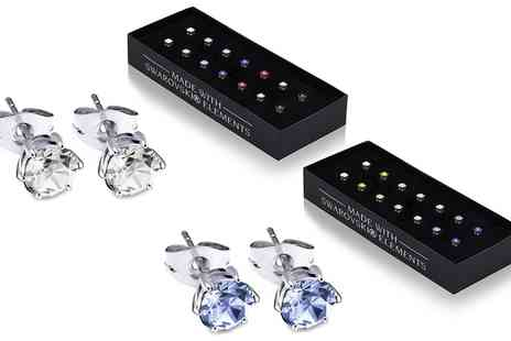 Groupon Goods Global GmbH - Seven Pairs of Earrings Made with Crystals from Swarovski - Save 93%