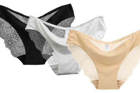 Intradify - Three Pack of Lace Underwear in 4 Sizes - Save 68%