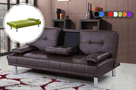 IT Ideas - Manhattan cinema sofa bed with cup holders choose from eight colours - Save 74%