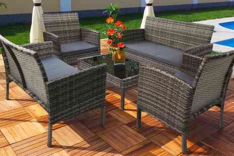 Groupon Goods Global GmbH - Rattan Effect Lounge Set in Choice of Colour With Free Delivery - Save 42%