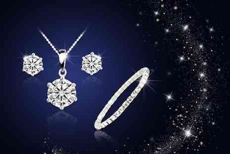 Your Ideal Gift - White gold plated solitaire tri set made with crystals - Save 84%