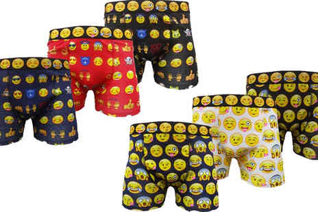 Get The Trend - Six Pairs of Assorted Emoji Boxers Four Sizes - Save 50%