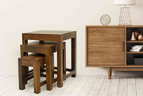 Computer and phone - Set of three mango wood nesting tables - Save 69%
