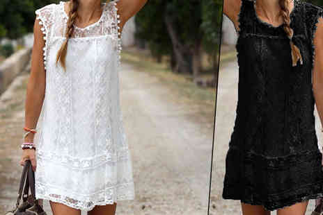 Intradify - Lace Sleeve Summer Mini Dresses Two Colours Four Sizes - Save 0%
