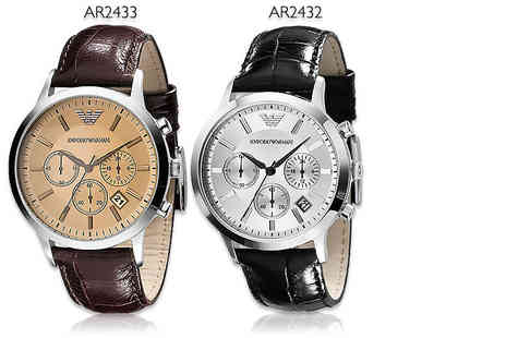 WRISTY BUSINESS - Mens Emporio Armani black AR2432 or brown AR2433 watch - Save 59%