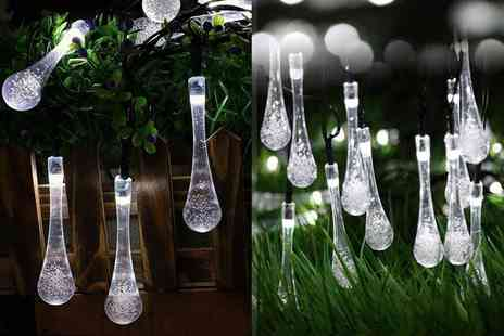 Chimp Electronics - Set of crystal water drop solar powered garden fairy lights - Save 77%