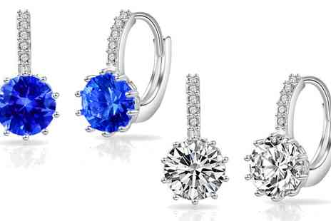 Groupon Goods Global GmbH - Philip Jones Synthetic Sapphire Solitaire Drop Earrings - Save 80%
