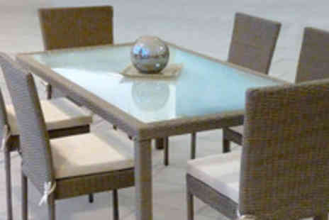 Garden Games & Leisure - Glass rattan table with 6 chairs and cream cushions - Save 70%