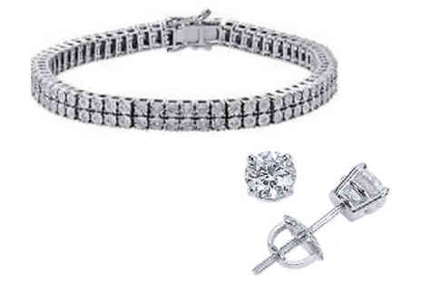 India Rose Designs - 7ct Simulated Sapphire Crystal Tennis Set - Save 76%