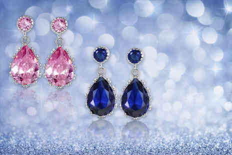 Your Ideal Gift - Pair of pear cut crystal earrings choose blue or pink - Save 84%