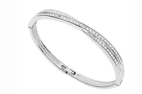 Marcus Emporium - 18K White Gold Plated Swarovski Elements Bangle - Save 91%