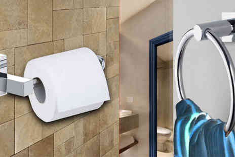 Comxuk - Bathroom Toilet Roll Holder and Towel Ring Set - Save 80%