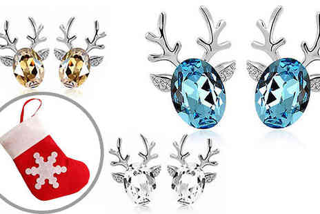 India Rose Designs - Reindeer Simulated Crystal Earrings Available in Three Colours - Save 83%