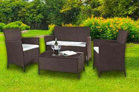 Furniture Instore - Four piece brown Barcelona rattan set - Save 88%