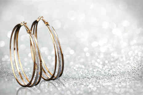 Solo Act - Pair of gold plated triple hoop rhinestone earrings choose yellow gold or white gold plating - Save 76%