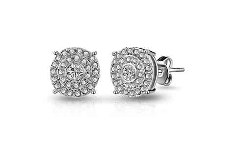 Groupon Goods Global GmbH - One or Two Pairs of Antique Style Pave Crystal Round Earrings - Save 79%