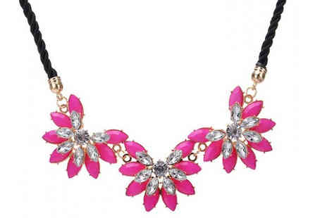 Your Ideal Gift - Pink Flower Statement Cord Necklace - Save 72%
