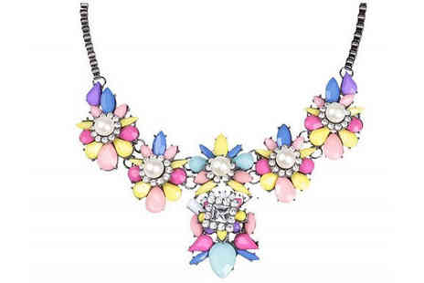 Your Ideal Gift - Flower & Created Crystals Statement Necklace - Save 77%