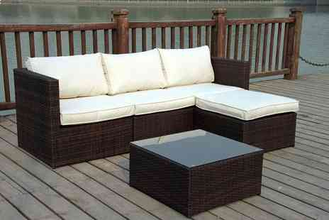 Furniture Instore - Rattan garden corner sofa set select from two colours in either a left or right handed position - Save 61%