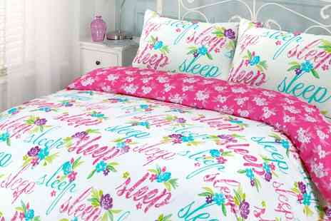 Groupon Goods Global GmbH - Decorative Text or Blossom Garden Duvet Cover Set in Choice of Size and Colour - Save 71%