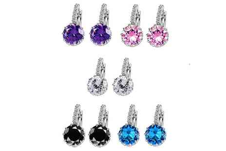 Groupon Goods Global GmbH - Three or Six Piece Rhinestone Crystal Hoop Earring Set - Save 83%