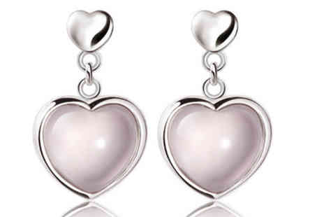 Elle and Be - Sweetheart Rose Quartz Earrings - Save 80%