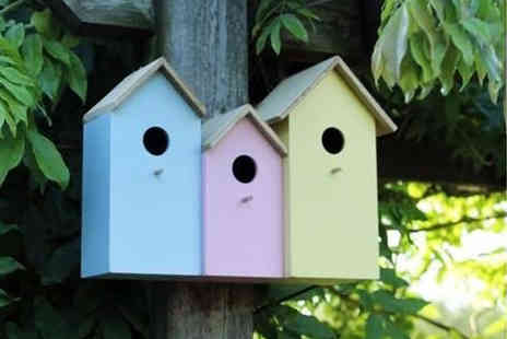 SHS Trading - 3 in 1 colourful wooden bird house - Save 62%
