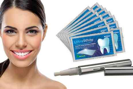 Groupon Goods Global GmbH - Ultra White Teeth Whitening Strips, Pen or Both - Save 86%