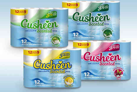 Supreme Direct - Cusheen Three Ply Scented Toilet Tissue 60, 120 or 180 Rolls - Save 59%