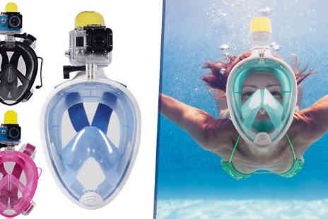 eFindbest - Snorkel Mask With GoPro Compatible Mount Two Sizes Three Colours - Save 64%
