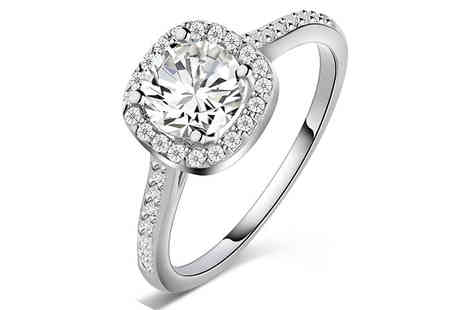 Clear Crystal - Brilliant Cut Rhodium Plated Ring Four Sizes - Save 80%