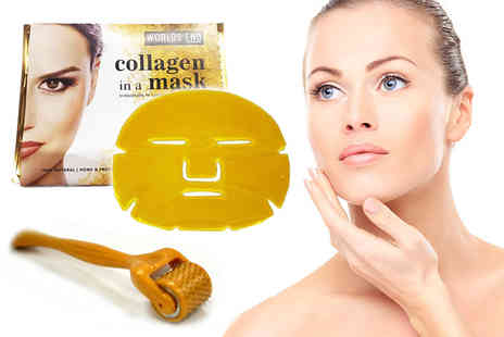 Forever Cosmetics - 1.5mm microneedle derma roller and five gold collagen face masks - Save 83%