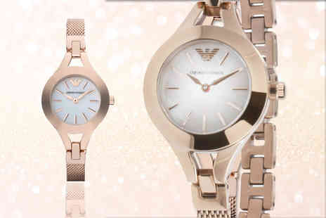 Gray Kingdom - Rose gold Emporio Armani AR7329 mesh watch with mother of pearl dial - Save 57%